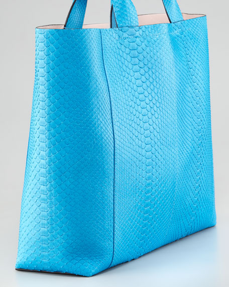 Exotic Python Track Tote Bag, Blue