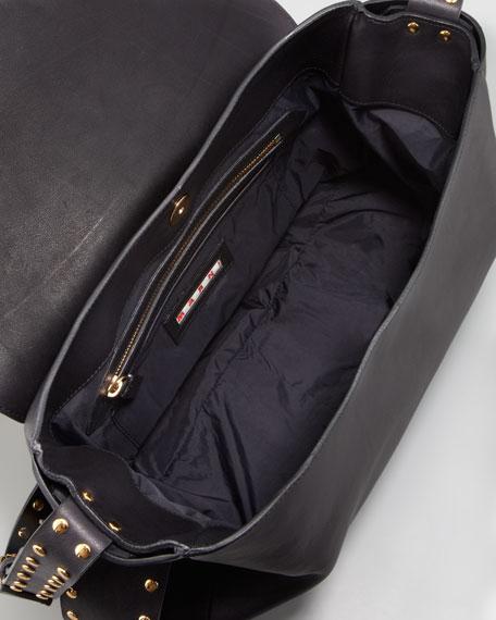 Studded Strap Messenger Bag, Charcoal