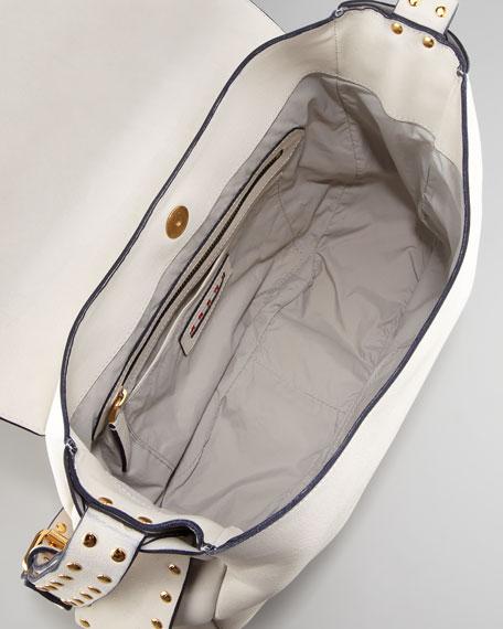 Studded Strap Messenger Bag, Shell