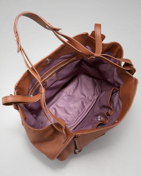 Zoey Leather Shoulder Bag, Brown
