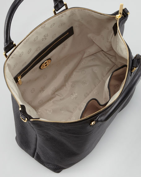 Stacked T Satchel Bag, Black