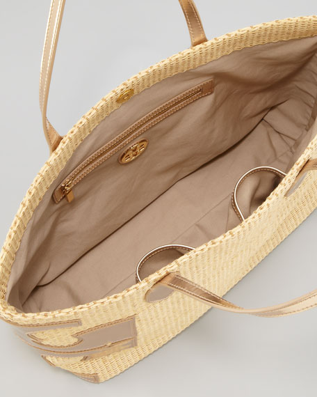 Stacked-T Straw Tote Bag