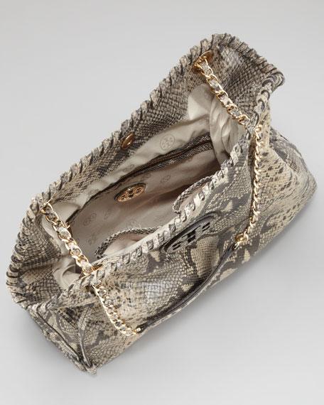 Marion Slouchy Snake-Print Tote Bag, Natural