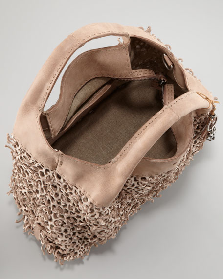 Perforated Leather Tote Bag, Sand