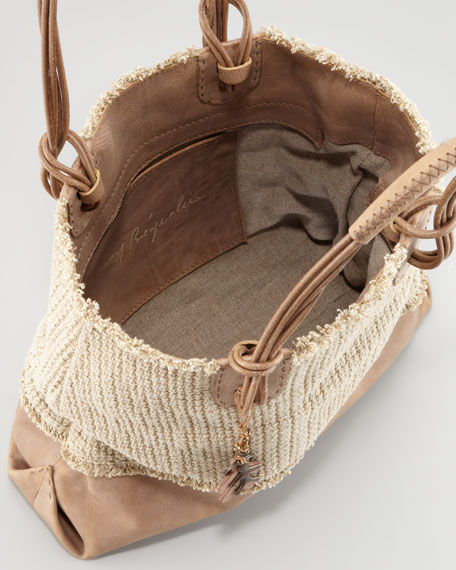 Drop Handle Linen and Leather Tote