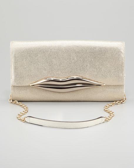 Diane von Furstenberg Carolina Metallic Canvas Lips Clutch Bag, Gold
