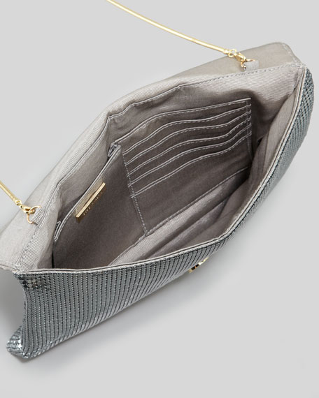 Harlow Metallic Chainmail Envelope Clutch Bag, Pewter