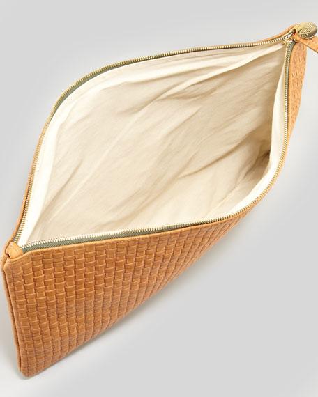 Oversized Basket-Weave Clutch, Camel