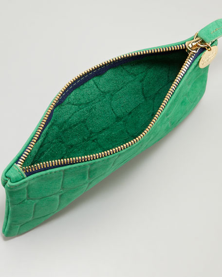 Tortoise-Embossed Leather Wallet Clutch