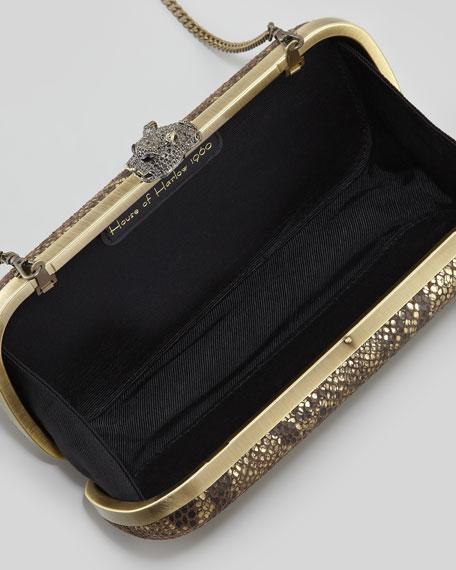 Addison Snake-Embossed Clutch Bag, Brown/Gold