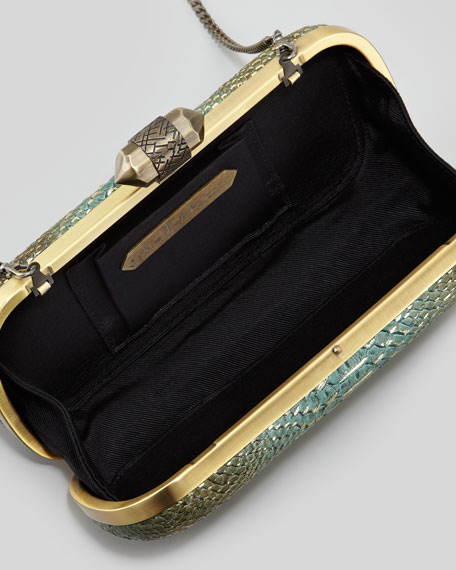 Adele Metallic Snake-Embossed Clutch Bag, Aqua