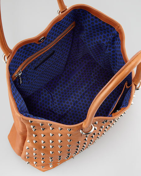 Spike-Stud Tote Bag, Almond