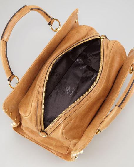 Buffed Glazed Bolts Leather Satchel, Caramel