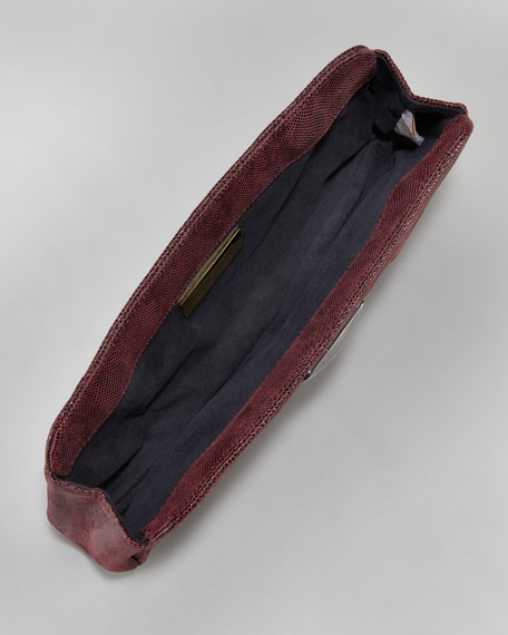 Crosby Double Lizard-Print Clutch Bag, Burgundy