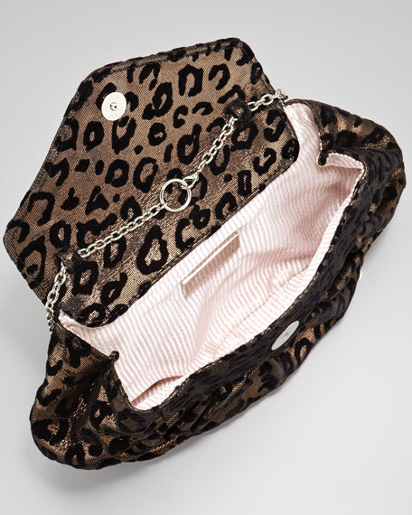 Diana Disco Velvet Leopard Clutch Bag, Bronze