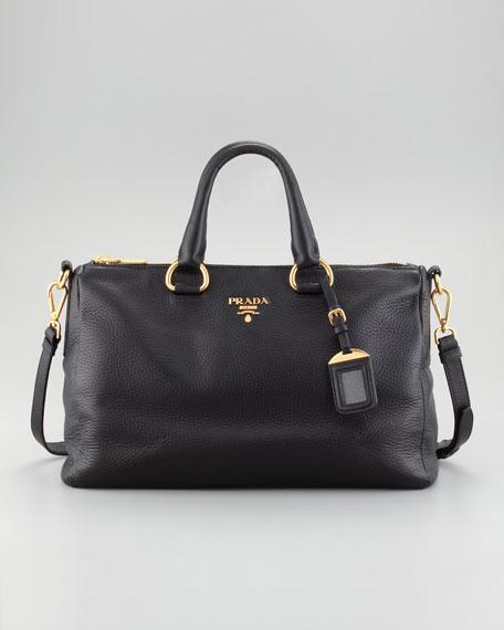 Vitello Daino East-West Tote Bag, Black (Nero)