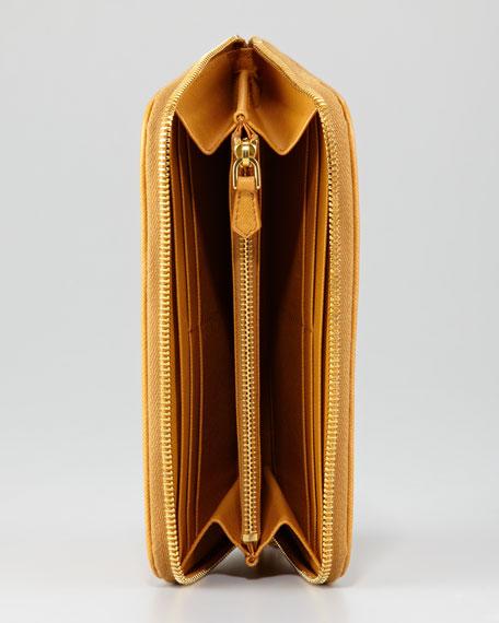 Quilted Saffiano Zip-Around Wallet
