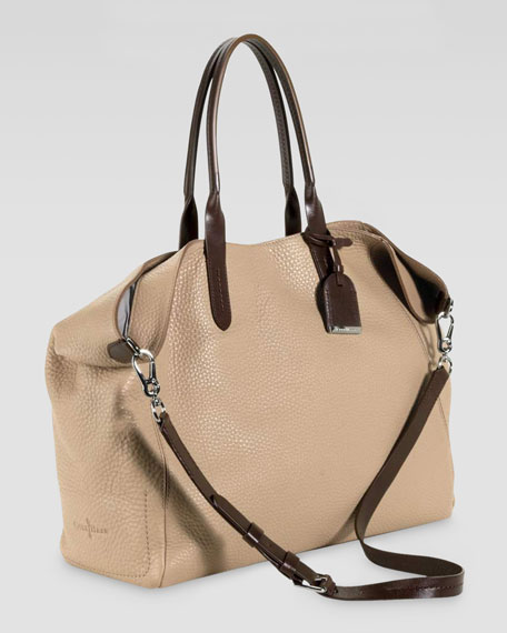Crosby Pebbled Leather Shopper, Sand