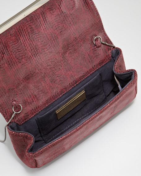 Essex Double Lizard-Print Clutch Bag, Burgundy