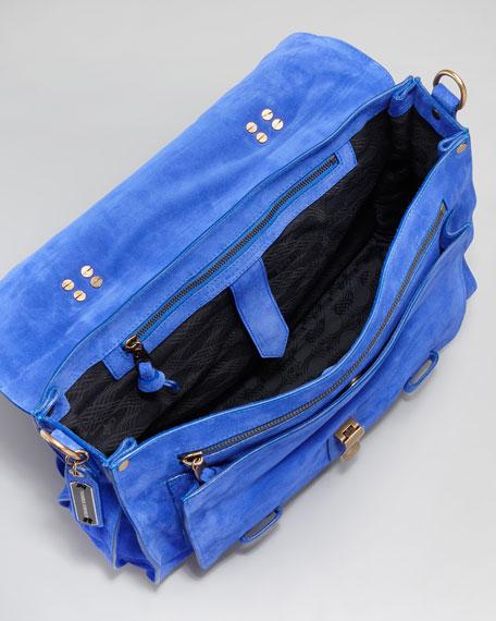 PS1 Suede Large Satchel Bag, Cobalt