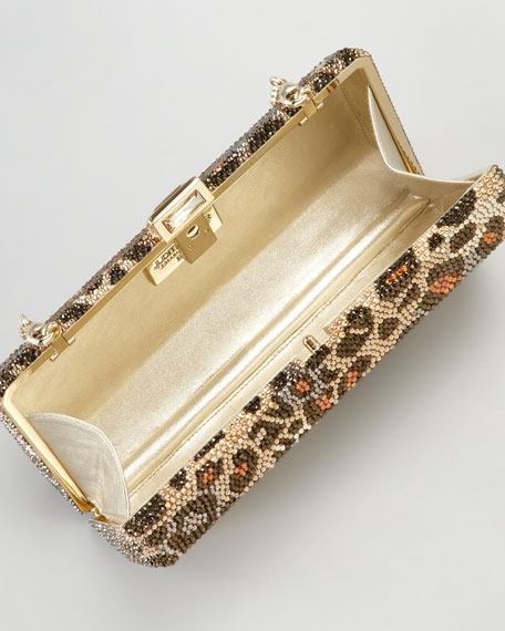 Leopard-Print Hexagonal Clutch Bag