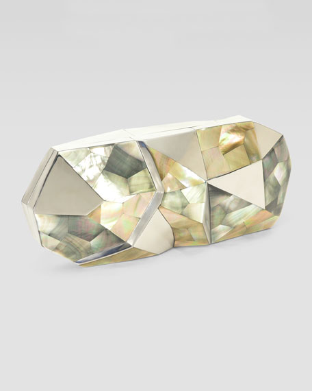 Maryanne Faceted Shell Minaudiere, Gray
