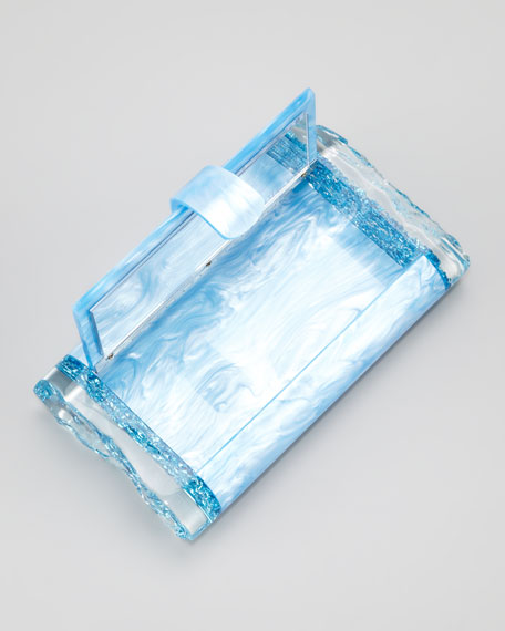 Lara Pearlescent Acrylic Clutch Bag, Blue