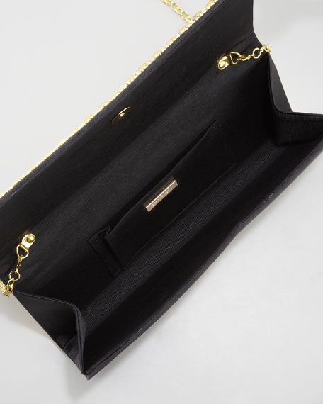 Calista Beaded Baguette Clutch Bag, Black