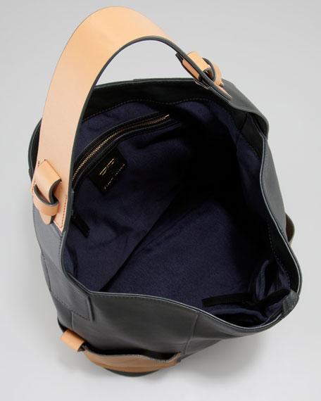 Nina Two-Tone Leather Hobo Bag