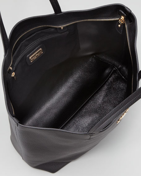 Gina Pebbled Leather Tote Bag, Black