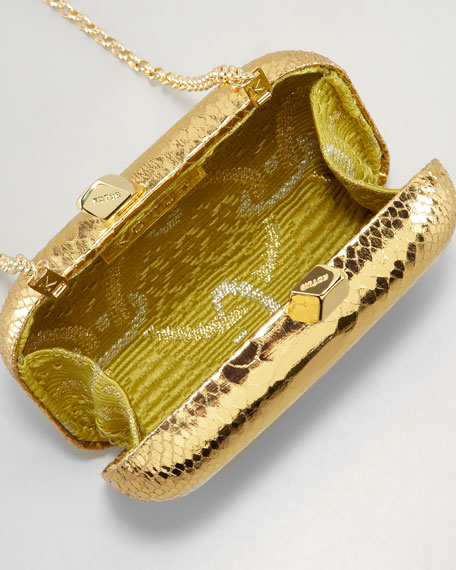 Margo Snake-Embossed Minaudiere, Gold