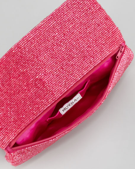 Beaded Flap-Top Clutch Bag, Fuchsia