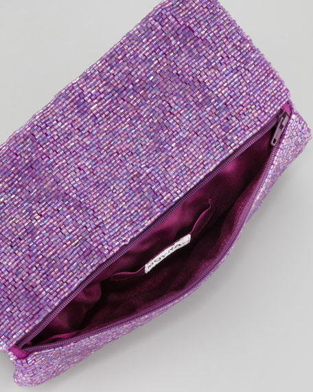 Beaded Flap-Top Clutch Bag, Purple