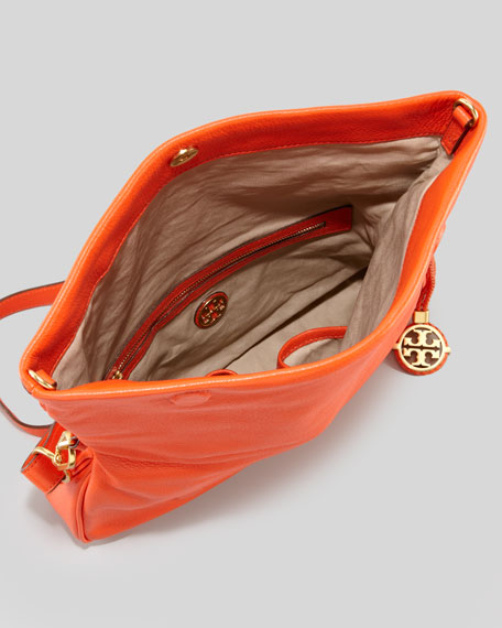 Amalie Fold-Over Messenger Bag, Fire Orange