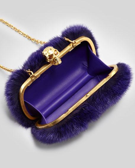 Classic Mink Fur Chain Skull-Clasp Clutch, Purple