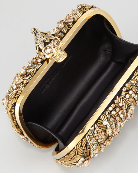 Crystal-Embroidered Punk Skull Clutch Bag, Gold