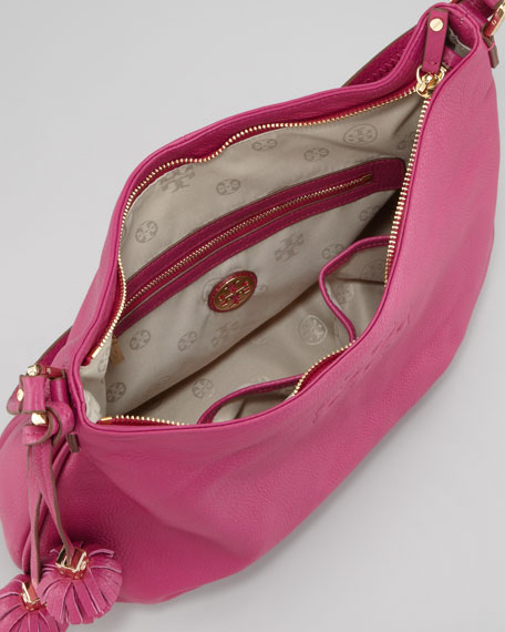 Thea Pebbled Leather Hobo Bag, Wildflower