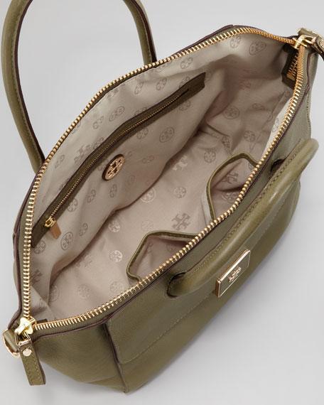 Clara Leather Satchel Bag, Green