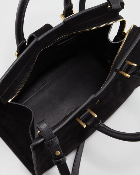 Small Cabas Y-Ligne Suede Carryall Bag, Black