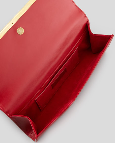 Lutetia Flap Clutch Bag, Red