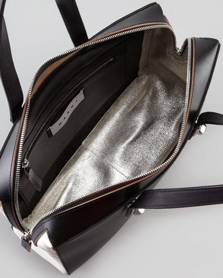 Bi-Color Turn-Lock Strap Shoulder Bag