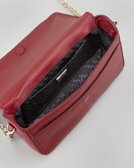 Flirty Leather Mini Crossbody Bag, Cherry