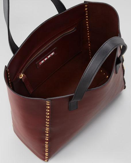 Studded Shopper Tote Bag, Ruby