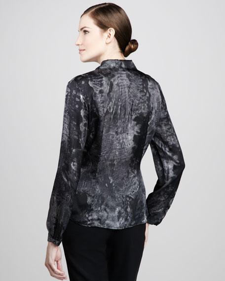 Demure Printed Silk Blouse