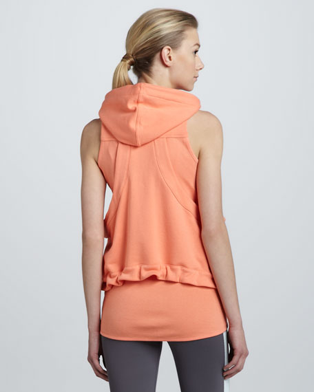 Hooded Terry Zip Vest, Bliss Coral
