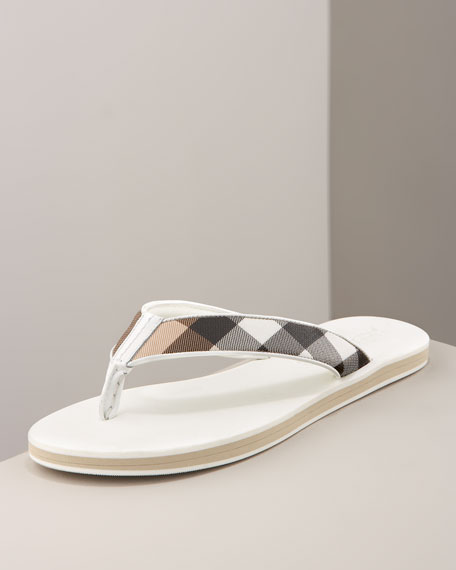 Check Leather Flip-Flop