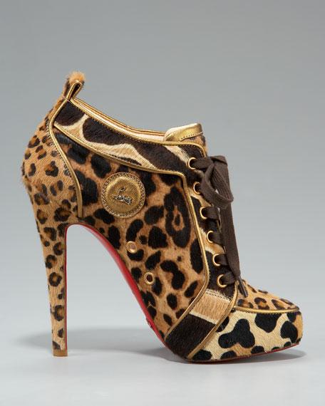 Leopard-Print Lace-Up Bootie