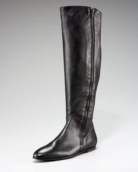Outside Zip Flat Knee Boot