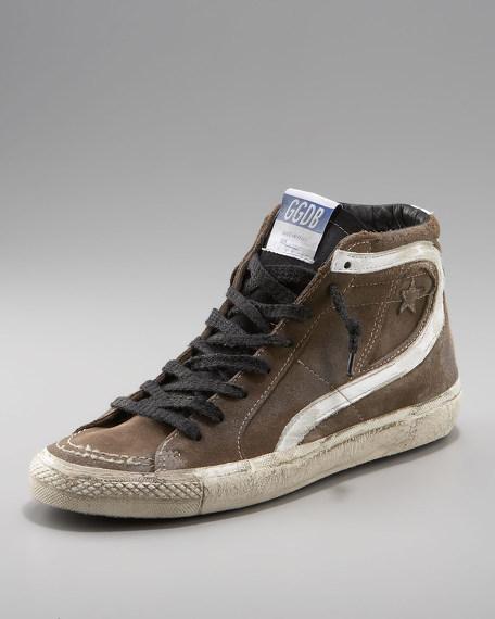 Side-Zip High-Top Canvas Sneaker