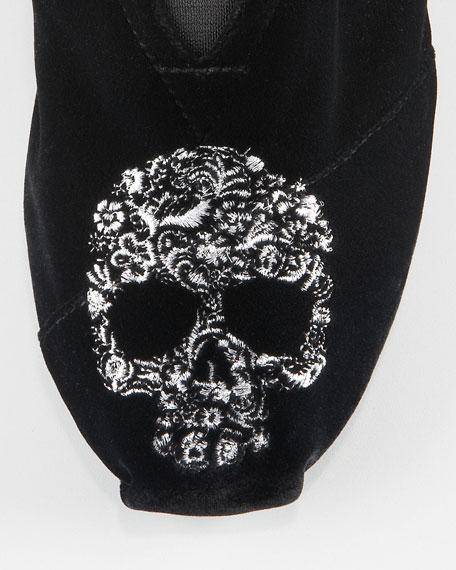 Beaumont Skull Velvet Slip-On